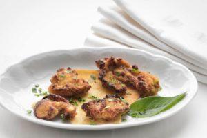 Funghi pastellati in farina di grano perlato Khorasan, uno dei nostri deliziosi classici